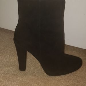 THEORY black suede platforms booties NWT